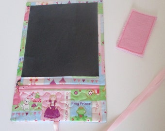 Roll Up Chalk Board-Personalized-Travel Chalkboard-Pink Princess-Chalk Board Play Mat-Pocket for chalk-Girl Gift-Christmas Gift-PlayMat