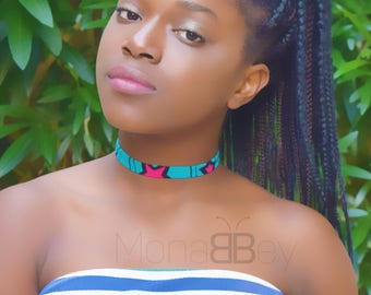 3 textile chokers, bijoux ethniques, african jewellery for women, birthday gift, handmade chokers, bijoux africains, cadeau d'anniversaire
