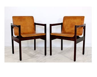 Mid Century Modern Pair Of Brazilian Rosewood Chairs Michel Arnoult Style  1960u0027s