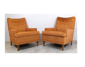 Mid Century Modern Pair of Robsjohn Gibbings Lounge Armchairs 1960s