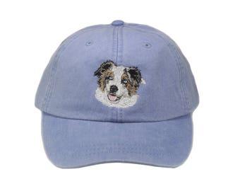 Australian Shepherd embroidered hat, baseball cap, dog lover gift, pet mom cap, dad hat, mom, gift for pet lover, blue merle, aussie cap