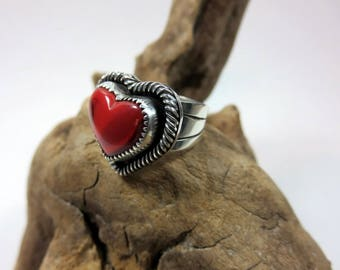 Rosarita Heart Ring. Red heart ring, Rosarita stone ring, Red gemstone.