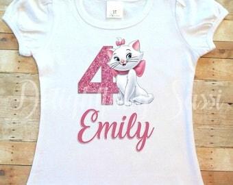 Girls Marie Shirt, Aristocats Shirt, Aristocats Marie birthday Shirt, Toddler Girl, Baby Girl, Birthday Shirt, Personalized Shirt, Marie Cat