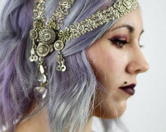 Vintage asimetrical zardozi headpiece