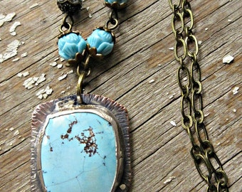 Long bronze with copper and silver set sleeping beauty colored turquoise and fun vintage inspired rosary chain necklace by Weathered Soul