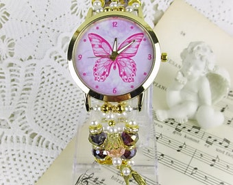 Watch quartz bracelet watch pearl crystal rondelles Butterfly