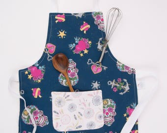 Ready to Ship - Gifts for Toddler - Best Gifts for Girls -  Toddler Girl Apron - Kids - Toddler Apron - Sugar Skull