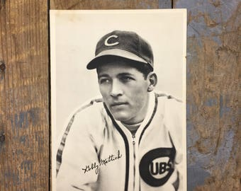 Vintage Bobby Mattick Photography Print 1950s Chicago Cubs Baseball Print Bobby Mattick Chicago Cubs Vintage Baseball Printed Signed
