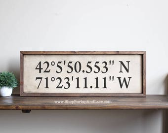 Custom Signs For Home Decor approximate size 9 x 19 my signs are completely handmade from real wood with Coordinates Sign Coordinates Custom Sign Custom Coordinates Sign Travel Theme Decor Home