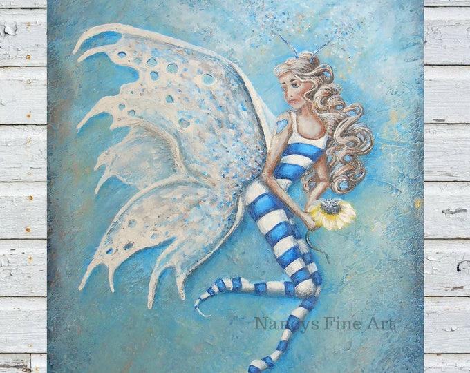 Original fairy artwork by California artist Nancy Quiaoit.  Blue Fairy.