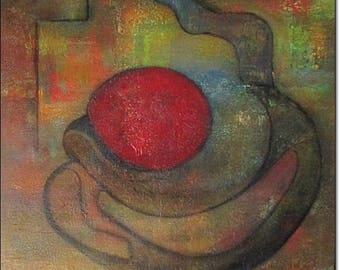 Canvas Art Abstract Acrylic Paintings ORIGINAL CONTEMPORARY PAINTINGS Textured Coffee Red Teal Pink Wall Art On Canvas 24x24x1,5 60x60x3,6cm