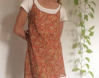 Vintage 90s Victoria's Secret pink & orange floral sheer slip dress / Size Small