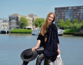 Gypsy Kimono jacket fringe Kimono boho devore burnout kimono night out stunning  black Velvet Kimono - Gifts for Her