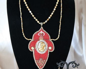 Persian style pendant with picture stone, red seed beads and glass crystal beads