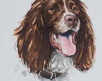 pet portrait in watercolor, custom pet portrait in watercolor, original watercolor painting, dog or cat painting, handmade gift/present.