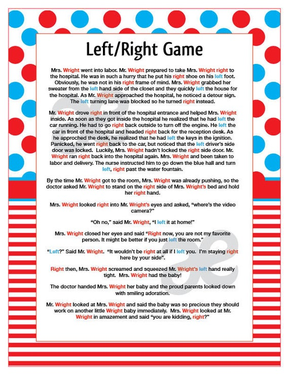 Lucrative image intended for left right games printable