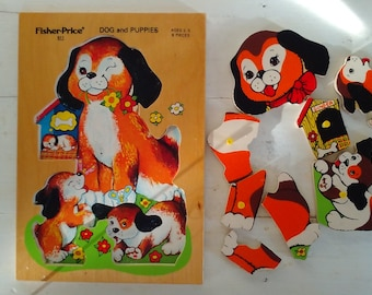 Fisher Price 511 PUZZLE for Ages 2-5 DOG and PUPPIES/Toddler Puzzle/made of wood/8 pieces/plastic pulls/Vintage Kid's Toy/lindafrenchgallery