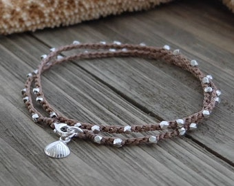 Silver Sea Shell Bracelet, dainty beach boho beaded crochet wrap bracelet, sea shell charm bracelet, beach charm bracelet by Boho and Indigo