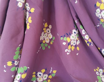 Purple Garden  1940s Cold Rayon With Floral Print