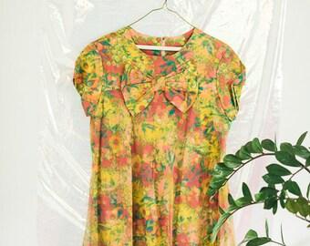 Vintage Psychedelic Floral Bow Dress