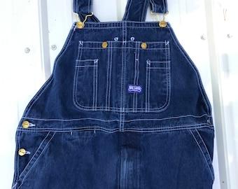 Vintage Big Smith Bib Overalls/Dark Blue Denim/Farmer/Zip Fly/Work wear/Carpenter/Mechanic/38 x 32/Meium Large/Unisex/1980s