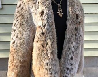 Vintage Mod Faux Fur Coat 1960s 70s/Monterey in the USA/Medium/Grace Slick/Janis Joplin/Boho/Hippie/Zip Front/Age of Aquarius