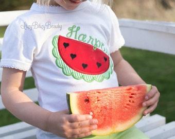 Girls Watermelon Shirt - Girls Summer Shirt - Personalized Embroidered Watermelon Shirt - Heart Seeds