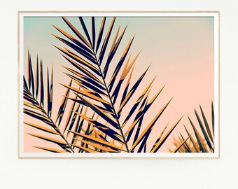 Printable Palm Leaf Trees Wall Decor Print Poster Tropical Beach Retro Vintage Colour Photo Nature Sea Minimalist Pink Sky Leaf Sun 1022
