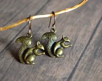 Squirrel Earrings, Woodland Earrings, Winter Forest Earrings, Metal Earrings, Gift Under 15 Dollar, Christmas Earrings, Vintage Earrings