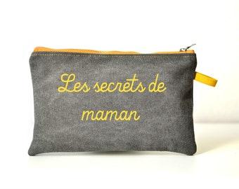 Trousse personnalisée, trousse en tissu, coton épais gris & moutarde, pochette à offrir citation, trousse cadeau, cadeau fête des mères