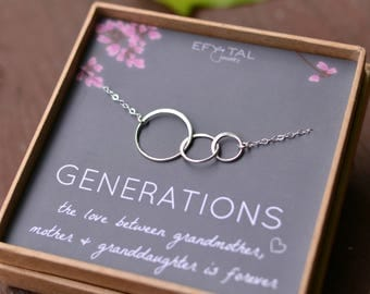 Generations Necklace for Grandma, mom, and granddaughter, Sterling Silver 3 Interlocking Infinity Circles Mothers Day Jewelry Gift