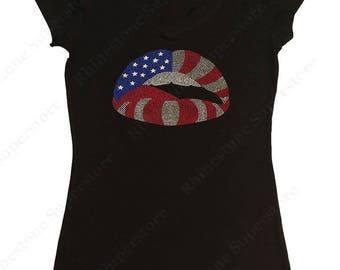 "Women's Rhinestud T-Shirt "" American Flag Lips 4th of July "" in S, M, L, 1X, 2X, 3X"