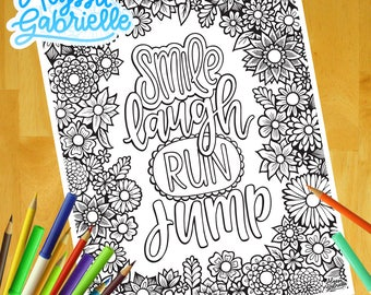 Smile! - Adult Coloring Page, Instant Digital Download, Printable Coloring