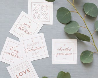 Printable Valentine's Day Multi-Purpose Cards (Blush Pink) - INSTANT DOWNLOAD - Gift Tags, Note Cards, Place Setting Cards, Decor