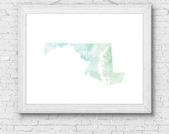 Maryland State Printable - digital download, room decor, clean and simple, watercolor, minimalist art, usa state outline, state artwork