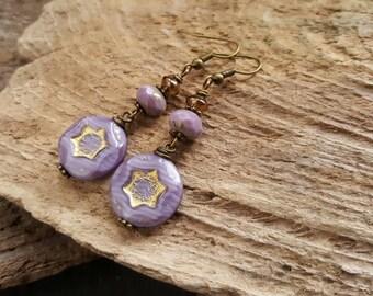 Lilac Purple Beaded Earrings, Bohemian Bronze Dangle Earrings, Czech Glass Bead Boho Earrings