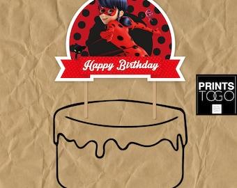 Miraculous Ladybug Cake Topper, Miraculous Ladybug party, Miraculous Ladybug party, Ladybug birthday party, Miraculous Ladybug topper