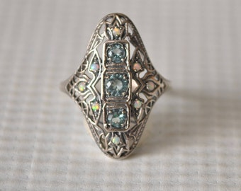 Sterling Silver Aquamarine Opal Ring Sz 6  #9768