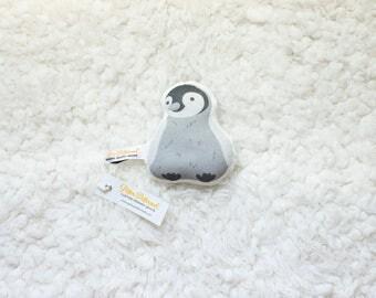 Organic Penguin Rattle / Pillow - Baby Toy / Baby Gift / Teething Toy / Plushie / Stuffed Animal / Organic Baby Toy