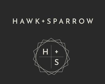 Minimalist Premade Logo | Round Watermark | Customizable Branding | Instant Download | Editable Logo Template | Hawk + Sparrow