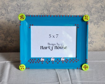 Hello Kitty/Kitty Picture Frame/Kids Picture Frame/Helly Kitty Picture Frame/5x7 Frame/Teal Frame/Picture Frame/5x7/Girls Pictrure Frame