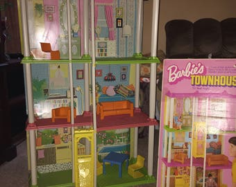 Vintage 1974 Barbie 3 Story Townhouse With Furniture