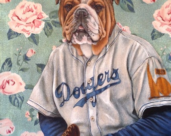 "English Bulldog Portrait on Canvas, ""Babe"""