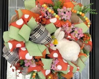 Easter Wreath, Easter Decoration, Burlap Wreath, Front door wreaths, door hanger, Wreath for door, Spring Wreaths, XL wreath