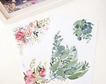 Postcards Flowers,  Flower Postcard, Stationery Flower , illustrated flowers