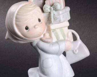 1982 Precious Moments Bundles Of Joy Figurine Cedar Tree Mark E2374 Retired 1993