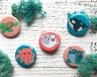 Ocean Cuties Buttons / Magnets ( pack button pins cute flair pinback pin magnet )