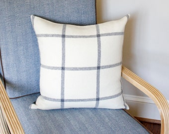 Wool Gray and Cream Plaid Pillow Cover - 20x20 or 22x22
