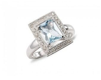 Antique Aquamarine Ring in 9ct Gold, Engagement Ring, Blue Aquamarine March Gemstone Ring