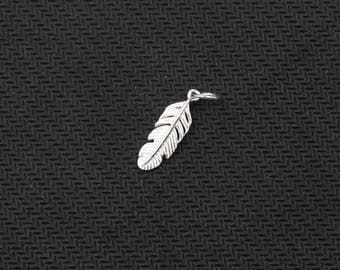 2Pcs, 18mm Sterling Silver Small Feather Pendants -- 925 Silver Charms Wholesale For Bridesmaid Gift Party XXSP-S0213